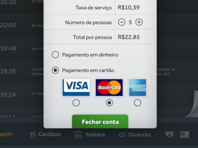 Payment view interface ipad restaurant menu bill credit card
