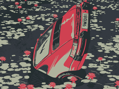 19MD81 andbloom illustration poster anime lotus flowers lilly pads pond water driving porsche car
