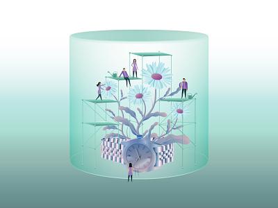 Lockdown isolation lockdown dome flower watch rolex covid19 corona stayhome illustrator