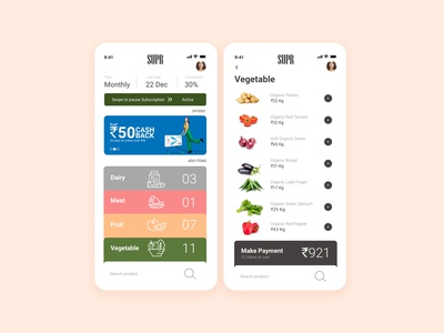 Super Dairy & Grocery Store UI idea inspiration