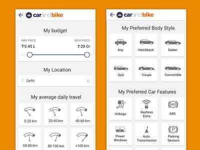 Car Recommendation Filter of Mobile App