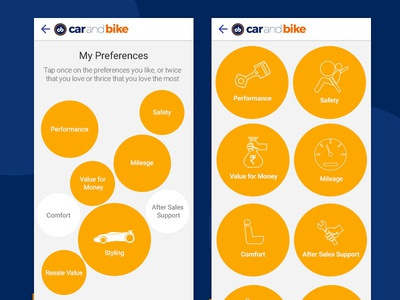 Tapping Car Preferences in Mobile App