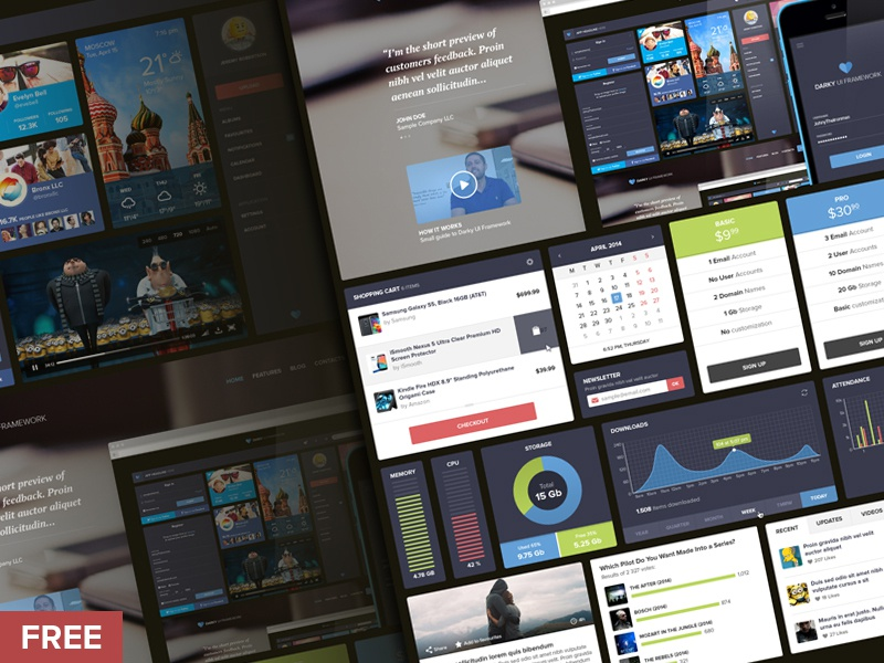 UI Freebie ui free freebie widgets calendar profile social dashboard player graph kit psd