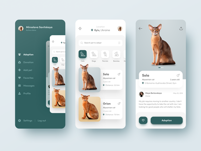 🐈 Pets Adoption App 🐶 ios animals mobile search minimal material ui  user interface green white clean color app  application pet adoption concept figma catalog side menu line icons cat social