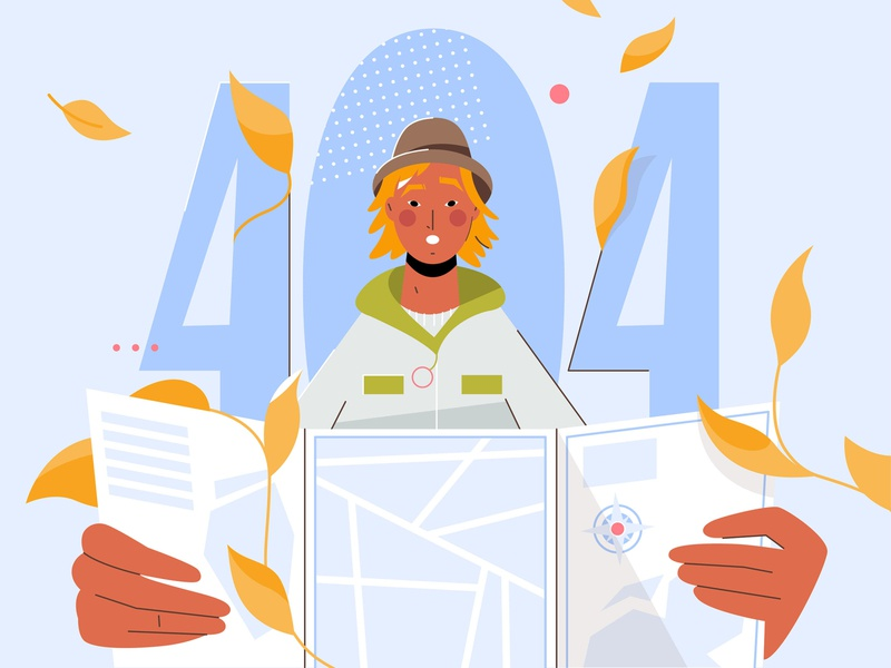 404 Page leaves webdesign 404page 404 man web art minimal cute colorful character vector design illustration