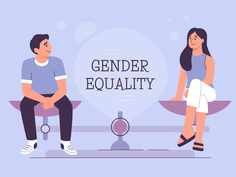 Gender equality woman man gender equal art minimal social girl cute color colorful character vector design illustration