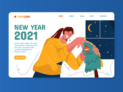 New year landing page night page landing tree christmas year new ui web woman minimal girl cute color colorful character vector design illustration