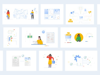 Storyboard for Google explainer video motion graphics character design art animation brand branding logo cute colorful color character vector design illustration storyboard storyboarding