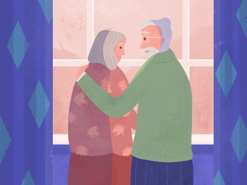 The elderly couple window curtains romantic happy love cute pink color design colorful couple old character vector illustration