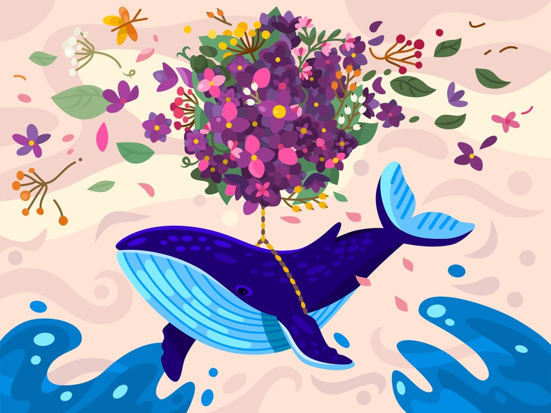 Flying whale blue floral flower fly whale cute colorful color design vector character illustration