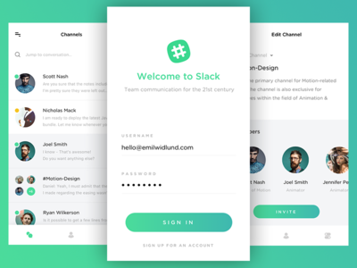 Introducing New Interface for Slack - Login Screen flat ios graidents app interface ux ui profile messaging slack