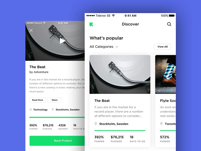 Kickstarter Concept flat modern light web design interface ux ui kickstarter