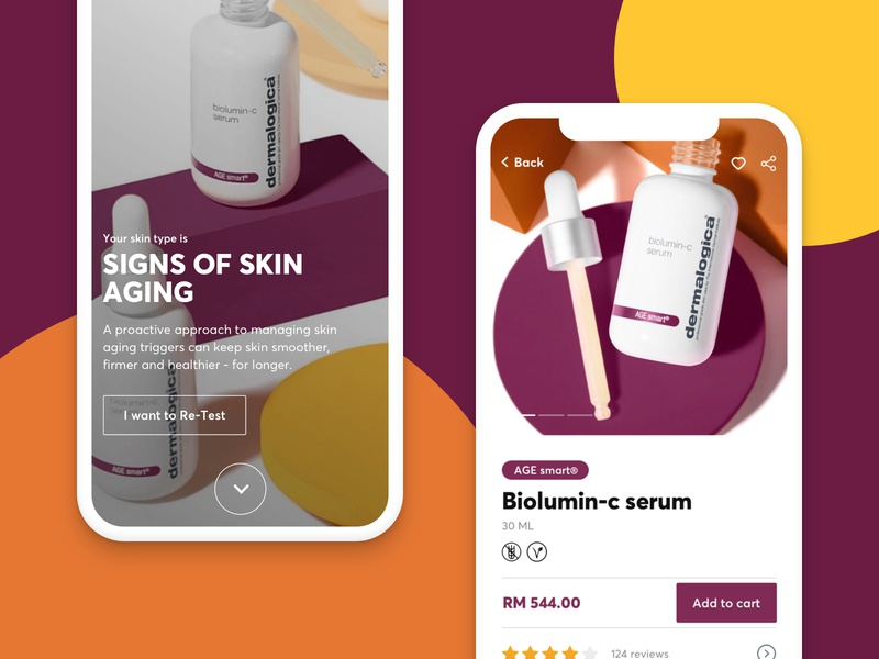 Dermalogica - Pitch project ux ui design skincare app ecommerce