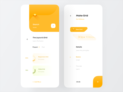 Learn Sketch teach georgia tbilisi ndro mobile learning progress tips videos tutorial modern light learn sketch courses grey white yellow clean cards