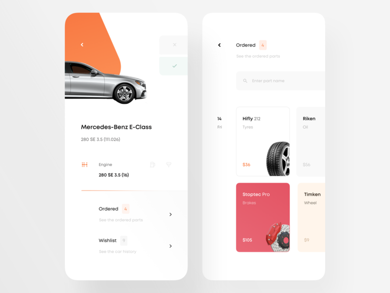 Car App — Choose Car & Orders sandro tavartkiladze carservice ndro select engine red brakes tyre items order recent checkout orders parts car parts car directory choose choose car cars