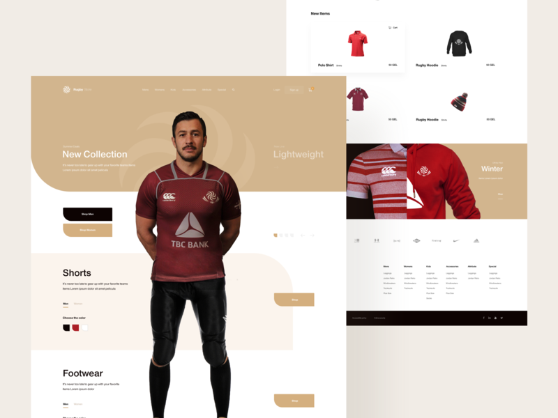 Rugby Store (Concept) sportsman shopping cart shop ecommerce e commerce template e commerce sports commerce sport rugby store rugby georgian rugby ndro tavdro sandro tavartkiladze