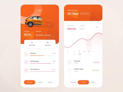 Fintech Deposit Gamification mobile app transfer transaction budget portfolio value assets graph stats banking app car orange app fintech app banking growing deposit gamification gaming fintech