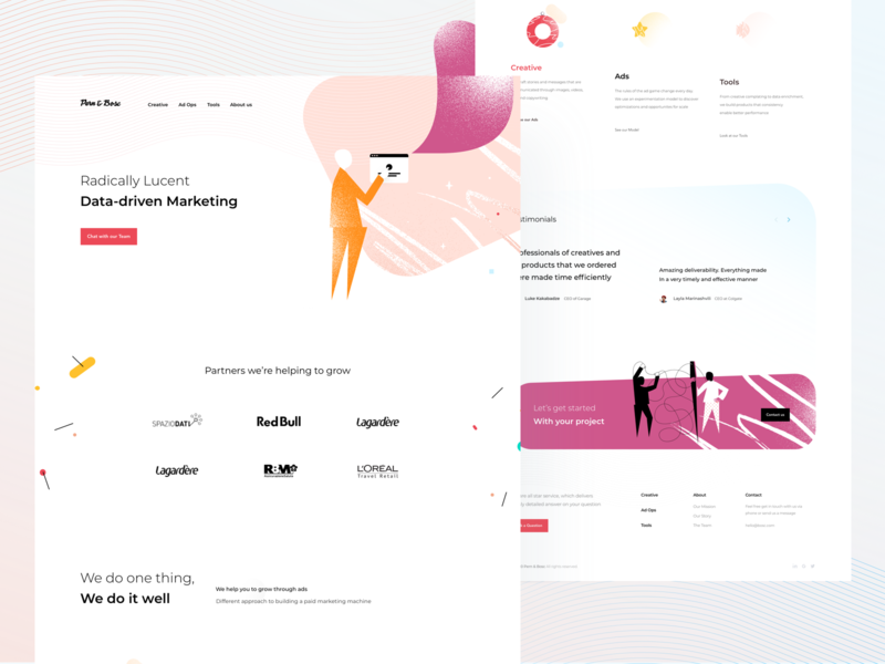 Marketing Homepage — SaaS Landing constructivism tool sass homepage onboarding marketing page creative agency website saas website illustration landing landing page marketing site marketing agency saas landing page marketing agency pink orange saas