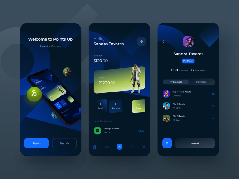 Game Store App store game store banking app finance app banking fintech stream dark theme profile page profile app dashboard app splash screen mobile iphone gaming app gaming game ndro tavdro sandro tavartkiladze
