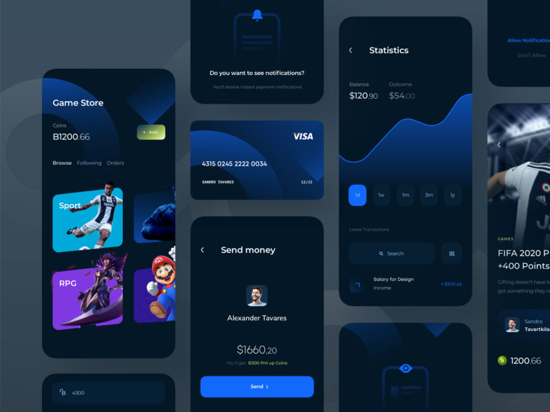 Game Store App Exploration fifa 20 add photo registration form allow notifications verify identity gaming app gaming transactions subscription add product redeem buy graphs stats card banking app send money browse dark theme game store