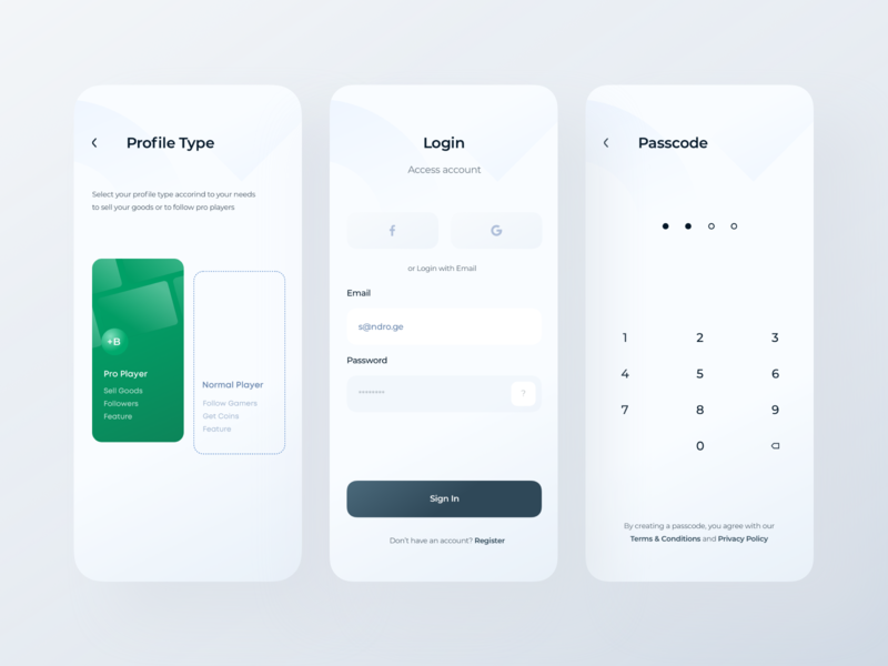 Game Store App — Profile, Login, Passcode (Light Theme) ndro new account account registration light theme profile page game store passcode authorization sign up sign in login design profile design app login app login screen pro player subscription profile profile type
