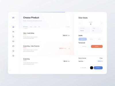 Dashboard Order Flow ndro product price list admin panel dashboard analytics muted colors product design blue orange choose product order details order flow ordering account saas app saas design saas dashboard saas saas website