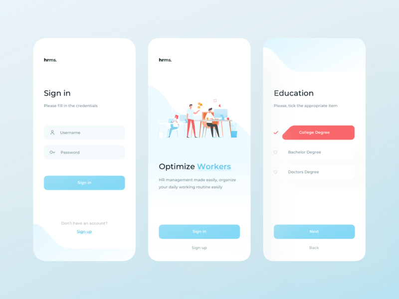 Hrms App — Sign in, Splash Screen, Registration ndro splash splash screen signup sign in app design saas app saas orange muted colors mobile management illustration hrms hr management dashboard app dashboard blue application app