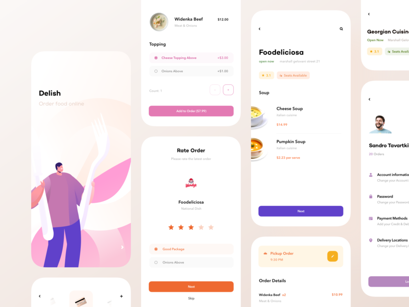 Delish — Food App food order management add card confirm order profile profile page food app foodie food delivery service restaurant menu order type pickup order rate rating rate popup order details order food splash screen food delivery