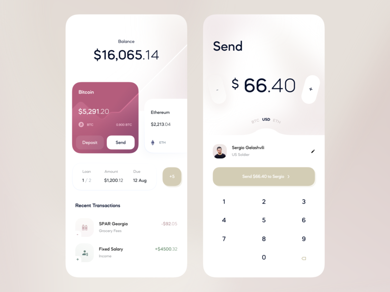 Finance App — Dashboard, Send Money transfer transaction recipient deposit lending banking app credit card app design balance app bankingapp ethereum bitcoin banking fintech send payment send money send payment pay bill