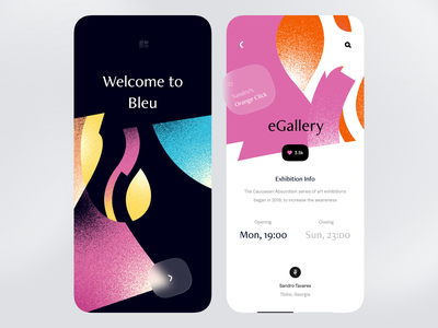 Arts Exhibition App — Splash Screen & Event Page frosted glass glassy texture glass events events page art exhibition exhibition art app illustration splash screen event page art museum artists artist online exhibition gallery art contemporary art museum of art cca app