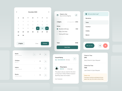Dashboard Elements — Cards stars share favorite like note elements dashboard ui cards ui review reviews to do choose people destination check out check in calendar popup dashboard cards airbnb