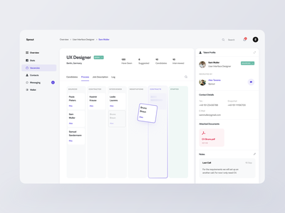 Sprout — Employee Management cards dashboard interface dashboard template dashboard design dashboard app dashboard ui dashboard neutral tones purple hrsoftbd hr software hr cloud hr hr management hrms management employee ndro tavdro sandro tavartkiladze