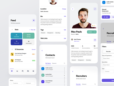 Sprout App hr software human resources job listing job vacancies vacancy open filter purple dashboard network recruiting recruiter contacts employee employee management hr app hrms hr platform hr