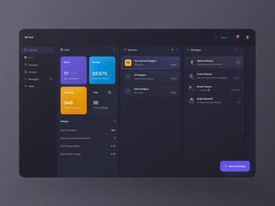 Hrms Dashboard Exploration (Dark + Light Theme) jobsite job workspace hr tool community data visualization dark theme dashboard vacancies hr software hr cloud hrms vacancy job listing jobs candidate recruiting recruiters profile card contacts