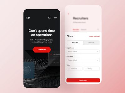 App Exploration application black red app red black and white illustration apply filter saved searches network recruiters recruiting filters splash screen app screen apple app hr platform hrms