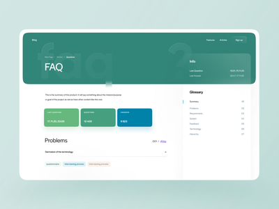 FAQ - Help Center ui design answers answer question asked frequently frequently asked questions help green colors neumorphism 3d flat design help desk ux ui website questions help center faq