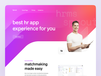 Landing Exploration landing page saas illustration website homepage app landing app purple pink landing hr app hr management hr cloud hrms hr landing hr service marketing instagram creative