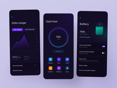 Optimizer App mode power power saving dark theme app cloud cleaners cleaning battery cellular data data usage battery health cleanup virus malware cleaner optimizer optimiser data optimize