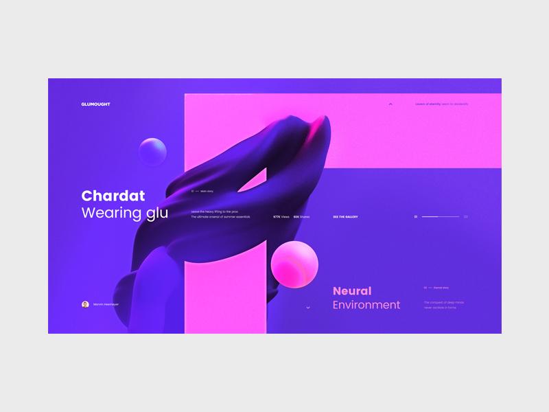Glumought — Art Blog Concept tavdro sandro tavartkiladze i minimalism minimal interface ui abstract pink neon blue concept clean art