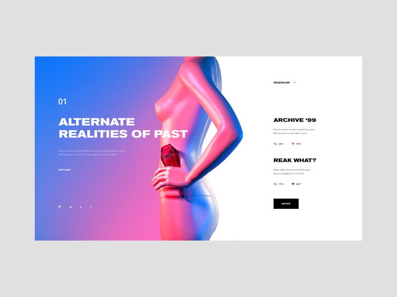 Solecolari — Arts & Culture tavdro sandro tavartkiladze body woman minimal minimalism design webdesign ui interface blue pink neon arts
