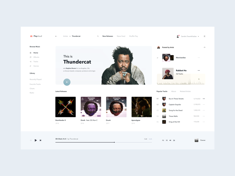 Playcloud — Online Music Streaming white ux ui clean tidal deezer player profile playlist player spotify cloud play ic122 sandro tavartkiladze music streaming streaming music thundercat chart artist