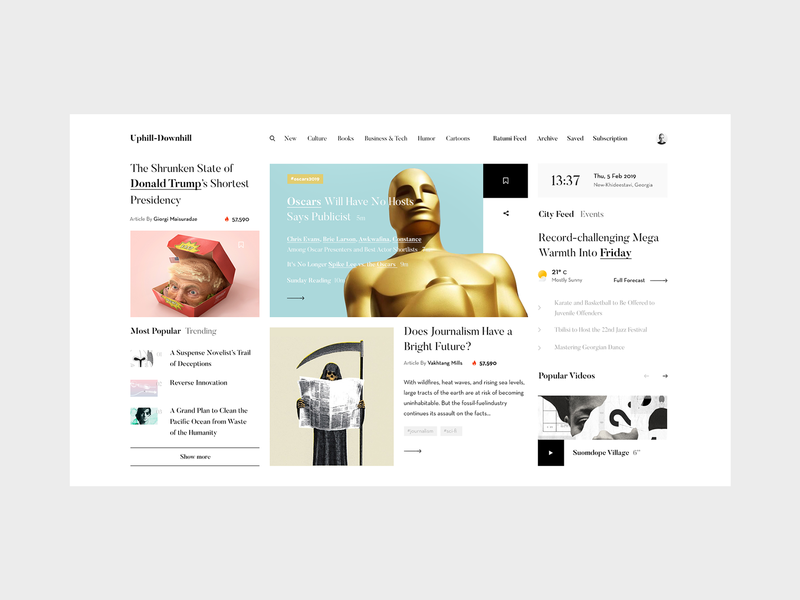 Uphill-Downhill — News Portal Concept tavdro sandro tavartkiladze inspiration interface grid whitespace minimalism ui navigation beige red sky minimal clean flat blog news responsive website web