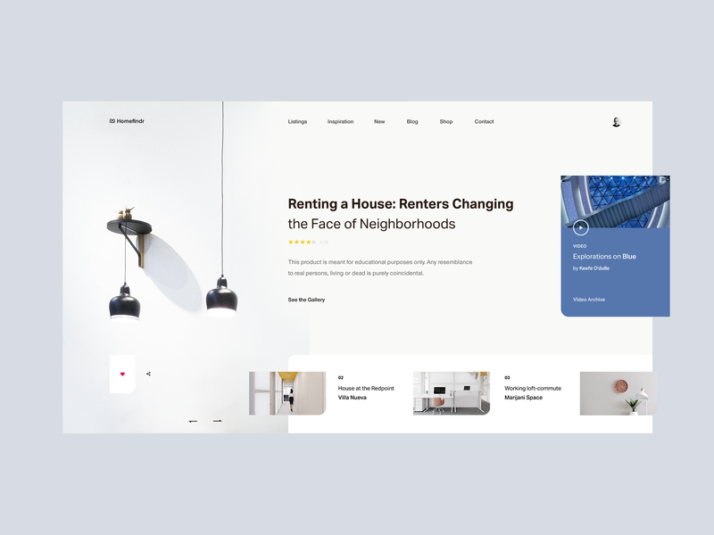 Homefindr — Booking Website Concept tavdro sandro tavartkiladze art colors design website web ux interface white interior architecture interior house booking home whitespace blue clean ui minimal