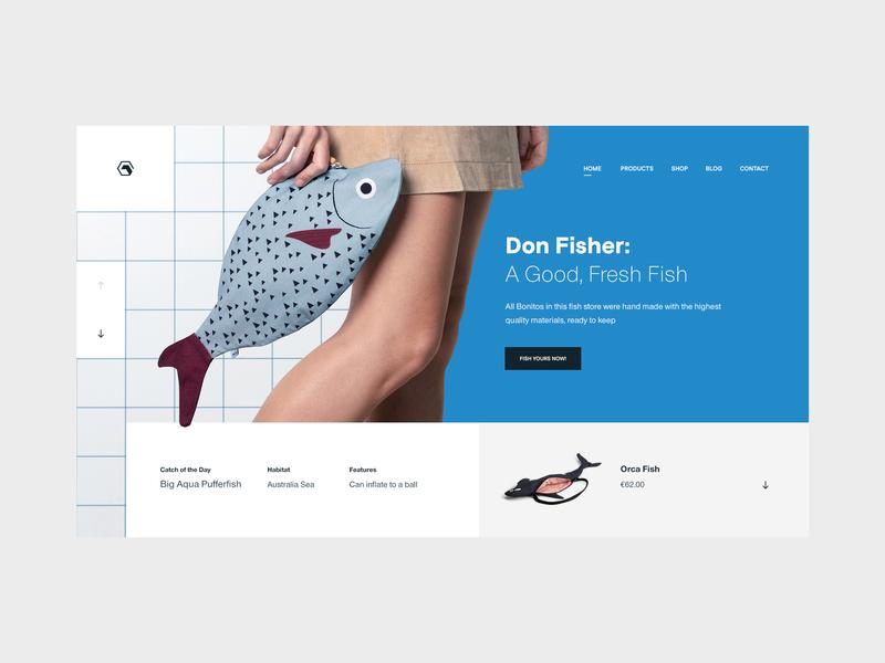 Don Fisher — Concept tavdro sandro tavartkiladze inspiration web store colors design website blue ux interface white minimalism whitespace clean ui minimal fashion bags fish