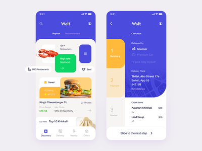 Wolt — Redesign Concept ux ui minimal food and beverage burger crab khinkali iphone ios blue and yellow responsive mobile blue tavdro sandro tavartkiladze delivery food food delivery wolt tbilisi