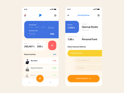 Paymon — Online Banking ndro interface minimalism app iphone motion mobile whitespace clean send money money transfer money management banking app money app money banking minimal ui tavdro sandro tavartkiladze