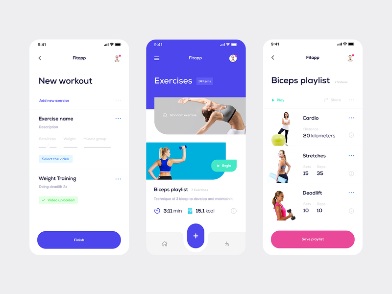 Fitapp — Fitness Tracker (WIP) workout video playlist blue design inspiration fitness ios app app ios iphone white interface minimalism clean whitespace minimal ui tavdro sandro tavartkiladze