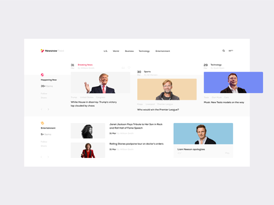 Newsnow — Feed blue feed inspiration design grid web ux ui minimal clean white interface minimalism whitespace theme blog news newsfeed tavdro sandro tavartkiladze