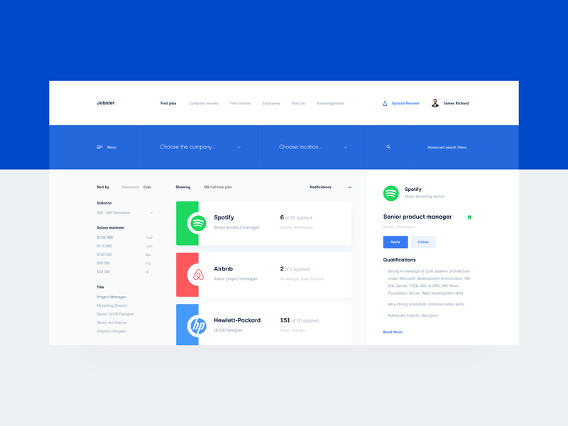 Jobster — Job Search Dashboard ux ui interface clean app job app jobsite jobs flat dashboard flat design dashboard design dashboard tavdro sandro tavartkiladze