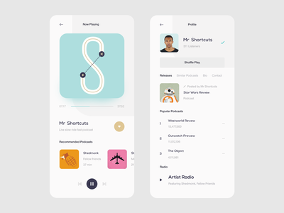 Podcast App — Player & Profile ndro typography design inspiration ux interface minimalism whitespace clean minimal ui music app ui music player app music player player music app podcast app podcast sandro tavartkiladze tavdro